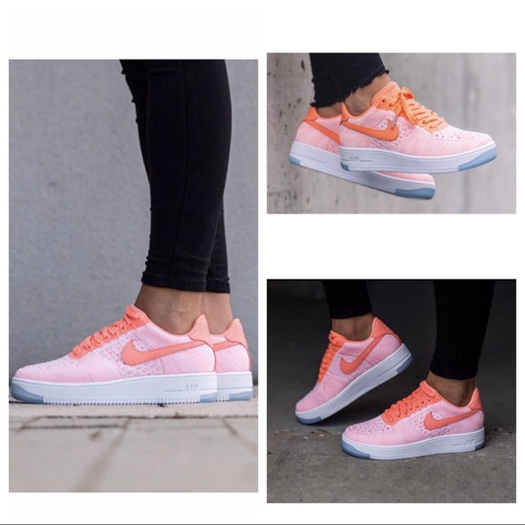 Nike AirForce 1 FlyKnit Low Sneaker in Atomic Pink